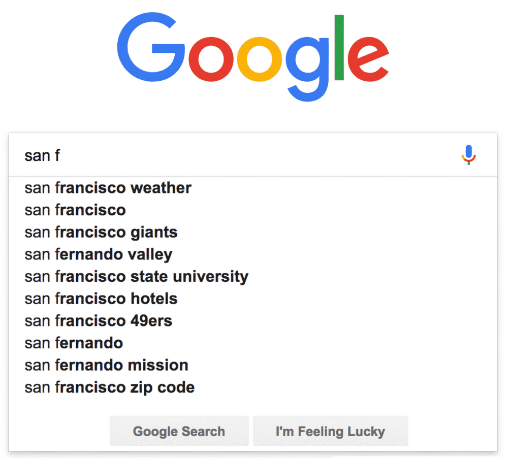 6. Google Search Autocomplete Feature