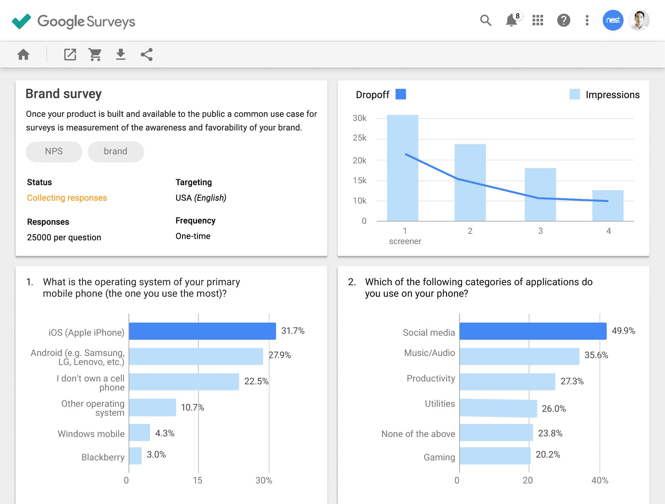 Google Surveys free seo tool